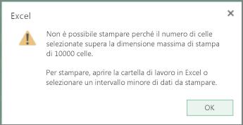 messaggio che indica che non è possibile creare una tabella con più di 10.000 celle