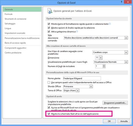 Opzioni di avvio nella finestra di dialogo Opzioni di Excel