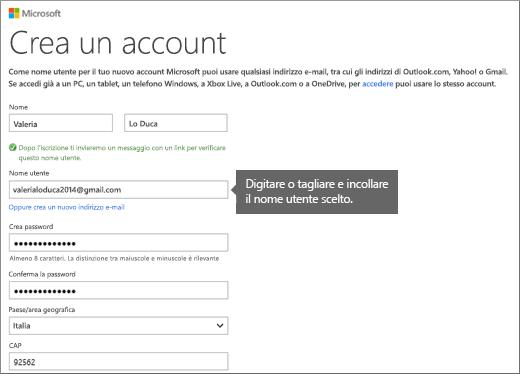 Compilare il modulo 'Crea un account'