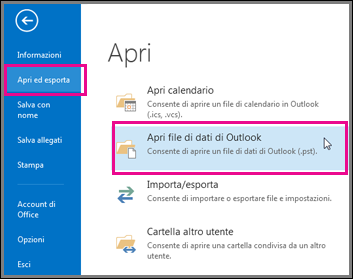 aprire un file di dati di outlook