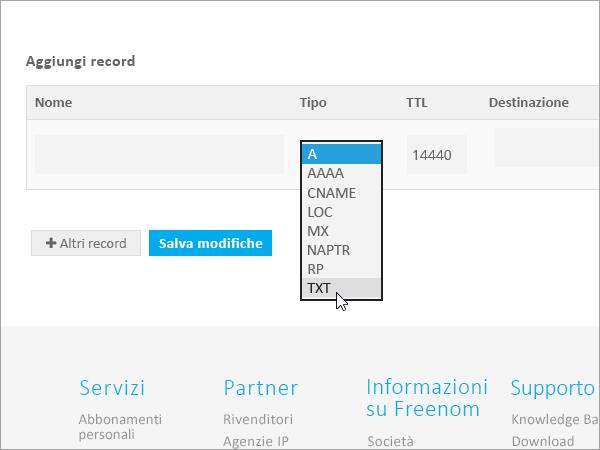 Freenom - Aggiungere il tipo di record TXT_C3_2017530151442