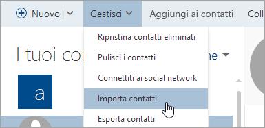 Screenshot del pulsante Importa contatti.