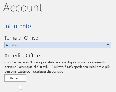 Screenshot che mostra le informazioni account in Word