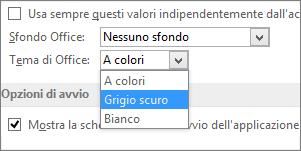 Menu a discesa Tema di Office, con le opzioni A colori, Grigio scuro e Bianco