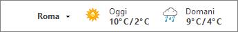 Barra meteo con le temperature in gradi Celsius