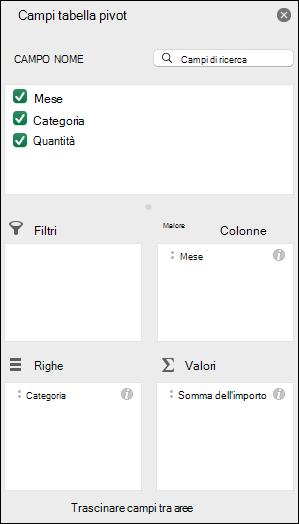 Esempio di finestra di dialogo con l'elenco Campi tabella pivot di Excel