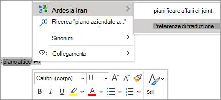 Mostra la traduzione inline in un messaggio