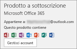 Visualizza l'account di posta elettronica associato a Office
