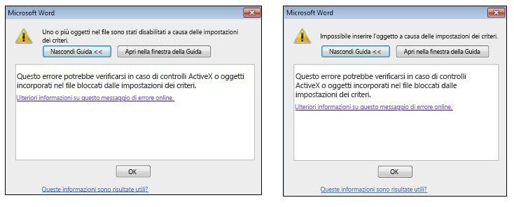 Messaggio di errore relativo a un oggetto incorporato e un controllo ActiveX