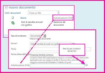una Colonna metadati gestita consente agli utenti di selezionare valori predefiniti da inserire nella colonna usando le proprietà del documento.