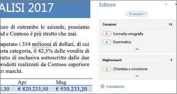 Riquadro Editor che mostra i problemi di correzione da risolvere in un documento di Word aperto