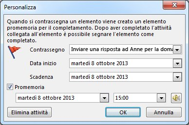 Finestra di dialogo Personalizza per l'impostazione di promemoria, date di inizio e scadenze