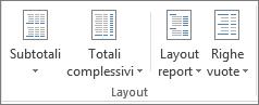 Gruppo layout sulla barra multifunzione