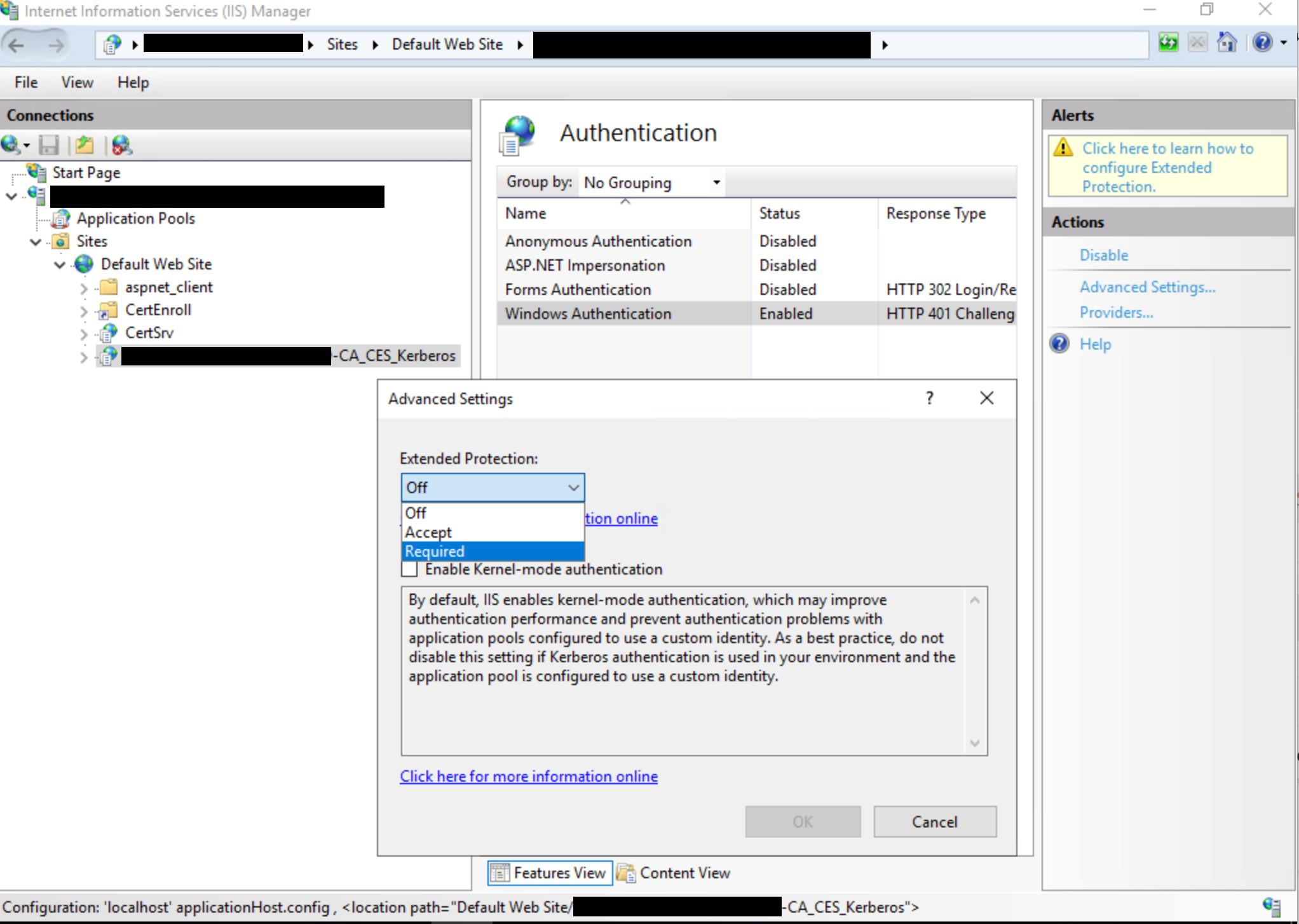 Finestra di dialogo Servizio Web di registrazione certificati