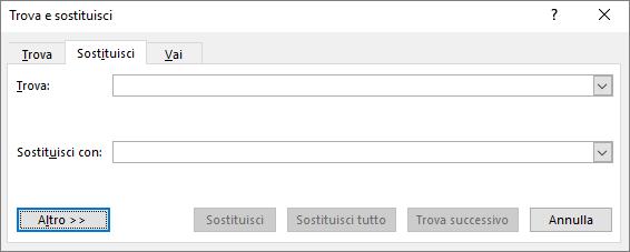 In Outlook scegliere il pulsante Altro nella finestra di dialogo Trova e sostituisci per visualizzare ulteriori opzioni.