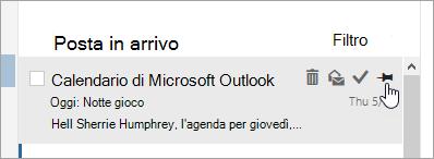 Schermata dell'opzione pin nell'elenco dei messaggi