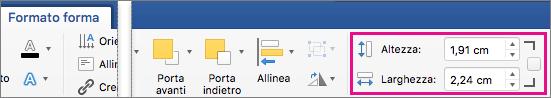 Opzioni Altezza e Larghezza evidenziate nella scheda Formato forma.