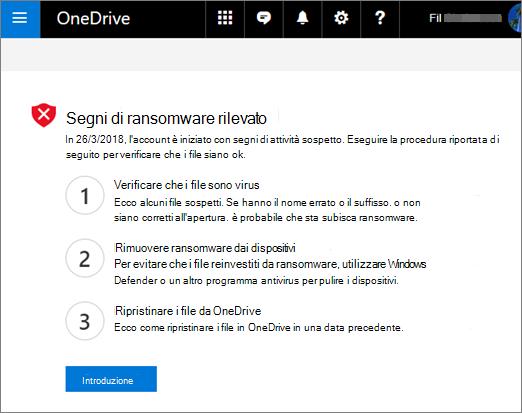 Screenshot dei segni della schermata rilevata da ransomware nel sito Web di OneDrive