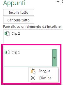 È possibile eliminare il clip multimediale 1.