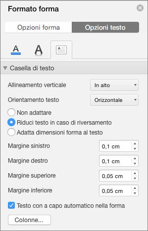 Opzioni di Casella di testo nel riquadro Formato forma