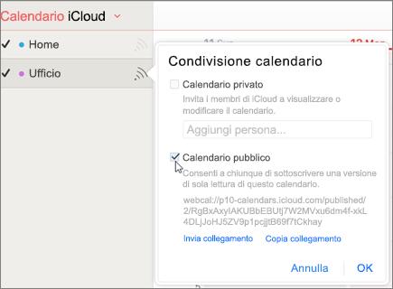 Impostazioni del calendario pubblico in iCloud