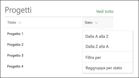 Web part elenco con il menu Ordina, filtra e raggruppa