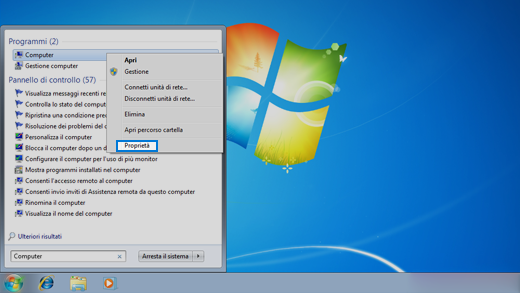 Pannello di controllo nel sistema operativo Windows 7.