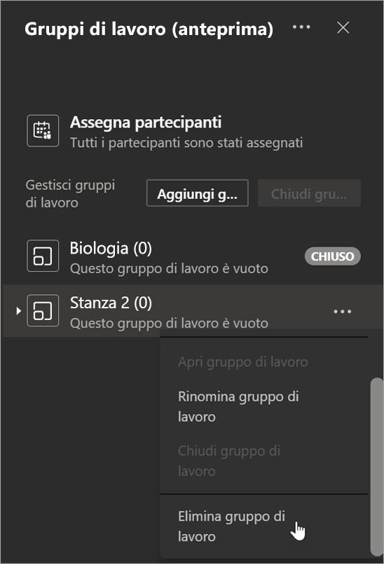 Pulsante Aggiungi gruppo in Gruppi di lavoro e opzione Elimina gruppo selezionata nel menu Altre opzioni.