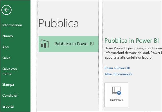 Scheda Pubblica in Excel 2016 con il pulsante Pubblica in Power BI