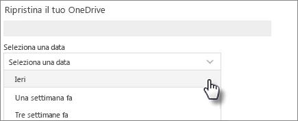 Schermata di selezione data Ripristina schermo OneDrive