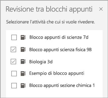 Selezione del blocco appunti per la revisione del blocco appunti.