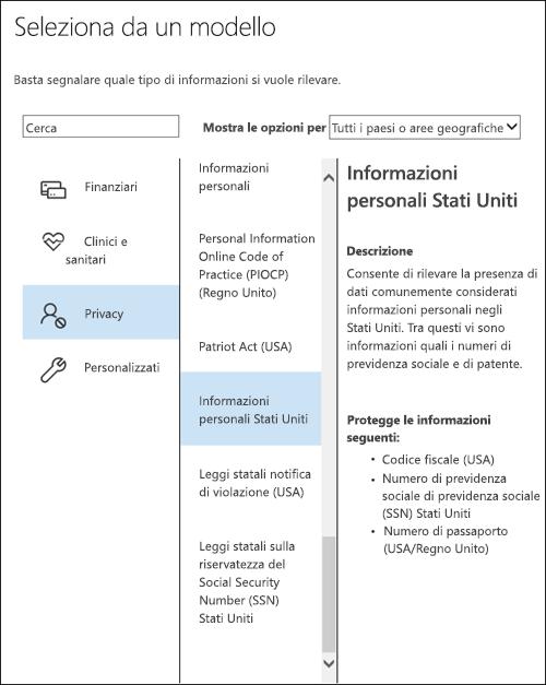Modelli di criteri con tipi di informazioni riservate