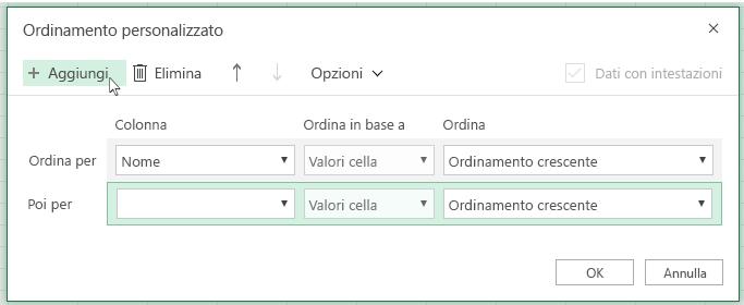 """Dopo aver fatto clic su """"Aggiungi"""", un altro livello di ordinamento verrà visualizzato nell'elenco accanto a """"Quindi per"""""""
