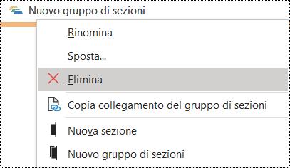 Finestra di dialogo Elimina gruppo di sezioni in OneNote per Windows