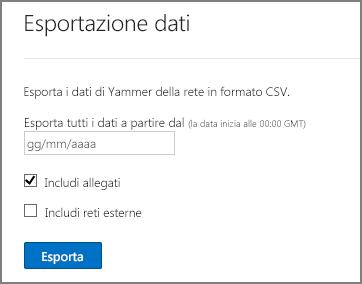 Esportare dati dalla rete Yammer