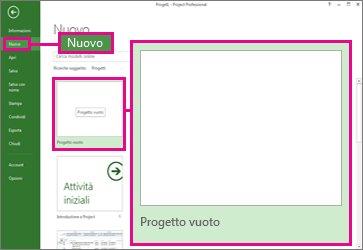 Immagine del pulsante di creazione di un nuovo progetto vuoto
