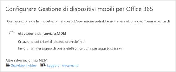 Avanzamento dell'installazione di MDM