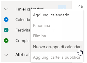 Screenshot del pulsante Nuovo gruppo di calendari