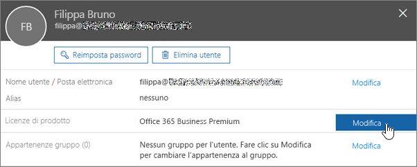Screenshot che mostra l'azione di modifica delle licenze di prodotto