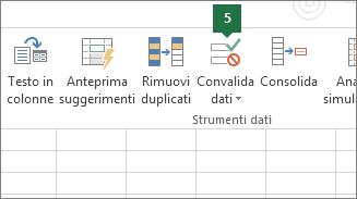 Convalidare l'elenco a discesa facendo clic su Dati > Convalida dei dati in Excel