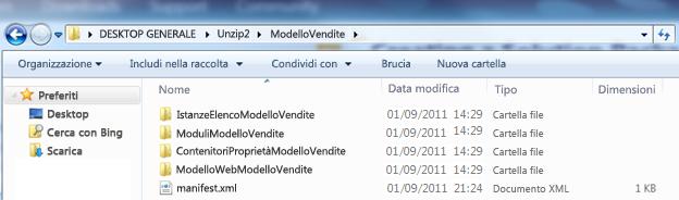 Screenshot di Esplora risorse che mostra un pacchetto della soluzione Web (wsp) decompresso.