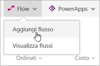 Menu Flusso nell'elenco con opzione di aggiunta flusso evidenziata
