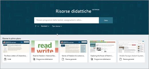Seconda versione della schermata principale di OneNote EDU risorse