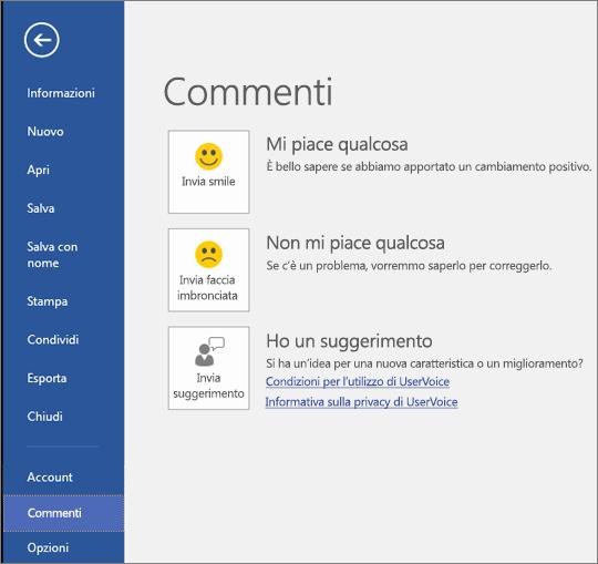 Fare clic su File > Feedback per fornire commenti o suggerimenti su Microsoft Visio