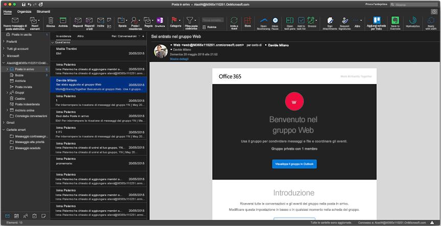 Modalità scura di Outlook