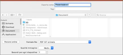 Finestra di dialogo Esporta con GIF animata come formato di file selezionato