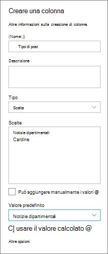 Esempio di configurazione di una colonna per le categorie di notizie