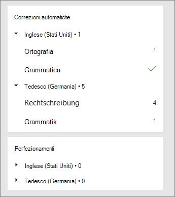 Le correzioni e i perfezionamenti sono elencati per lingua nel riquadro Editor.