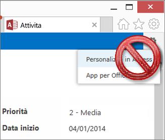 Opzione Personalizza in Access del menu Impostazioni barrata