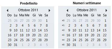 selezione data nella barra da fare con e senza i numeri delle settimane